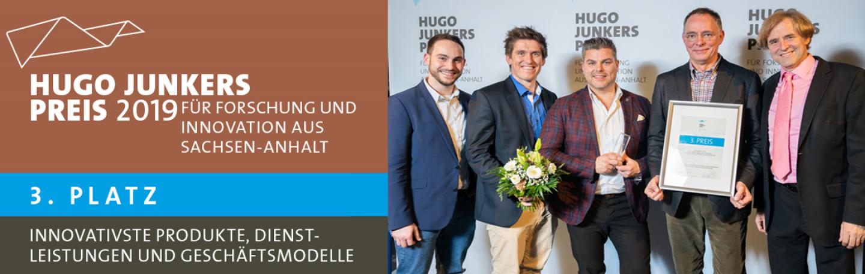 Das Schluckmesssystem RehaIngest ist mit einem dritten Platz beim Hugo-Junkers-Preis 2019 ausgezeichnet worden. Eine tolle Auszeichnung für die Arbeit des Teams.